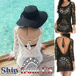 Women Bathing Suit Cover Up Crochet Lace Boho Dress Summer Beach Bikini Sundress $14.99