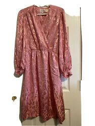 Silky faux wrap Dress by In The Mood Size 8 Pink Vintage Excellent Condition $16.00