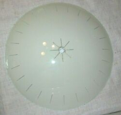 Vintage MCM 11quot; Round White Glass Center Hole Ceiling Light Shade Atomic Saucer $22.50