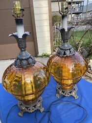 Amazing Pair Mid Century Hollywood Regency Amber Optic Bubble Glass Table Lamps $395.00