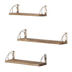 Set of 3 Rustic Wall Mounted Floating Shelves Bathroom Storage Rack Display Rack $22.90