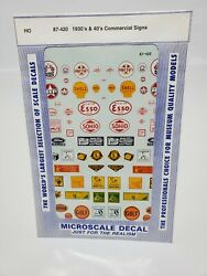 MICROSCALE DECALS #87 420 1930#x27;s amp; #x27;40#x27;s COMMERCIAL SIGNS FOR HO TRAIN LAYOUT