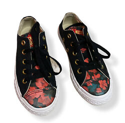 Converse ALL STAR Kids Skate Shoes Black 362637F Floral Size 11Y $15.00