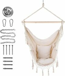 Hammock Chair Swing Hanging Rope Swing with 2 Seat Cushions Max 320 Lbs Beige $39.99