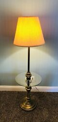 Brass Floor Lamp Glass Surround Vintage $110.00