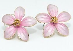 Vintage Flower Earrings Pierced Pink Enamel 1quot; $12.95