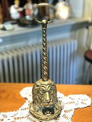 SOLID BRASS ANTIQUE LION HEAD DOORSTOP WITH LONG HANDLE $68.00