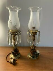 Pair Antique Lamps With Etched Grapes Hurricane Globes and Hanging Crystals  $80.00