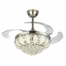 OUKANING 42quot; Modern Crystal Ceiling Light Chandelier and Fan with Remote Control $140.00