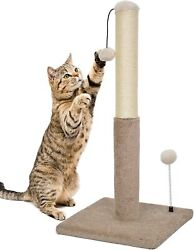 Kazura 29quot; Cat Scratching Post Natural Sisal with Carpet Covered and Toy $17.99