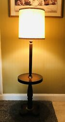 Vintage Walnut amp; Brass Floor Lamp With Walnut Surround 3 Way Switch $99.00