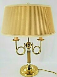 Vintage Alsy Brass Bouillotte Lamp Brass French Horn 2 Light with Original Shade $89.98