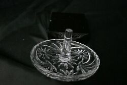 Contemporary Crystal Ring Holder with Florals Circles Design Clear 4quot; D $12.50