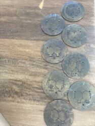 BRASS FLOOR BOX RECEPTICAL COVER LOT OF 8 VINTAGE $149.99