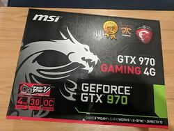 MSI GeForce GTX 970 Gaming 4G GDDR5 GPU 4GB w Custom Gold Backplate Cables $300.00