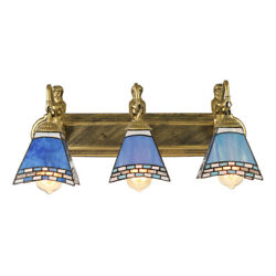 Tiffany Wall Sconce 3 Light Mermaid Bathroom Lighting Stained Glass Wall Lamp $119.00