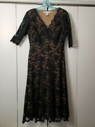 CAbi Little Black Dress Lace Lined Knee Length Size M VGUC