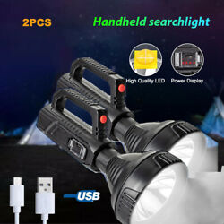 2x Brightest LED Flashlight USB Rechargeable 2 Mode Torch Searchlight Waterproof $21.84