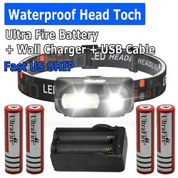 Super Bright LED Flashlight Torch 4x Battery Li ion 3.7V Rechargeable Batteries $11.95