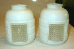 Pair Vintage White Clear Glass Light Shade Bathroom 1 3 4quot; Fitter 4quot; Tall $20.00