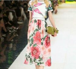 sale wholesale Holiday runway Crew neck Short sleeves Print Floral Skirt suits $56.00