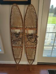 Large Pair Antique Snowshoes Snocraft Inc Norway Maine US Cabin Decor great $185.00