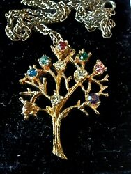 Vintage Tree Of Life Necklace Rhinestones Gold Tone Birthstones Family 23quot; Chain $15.00