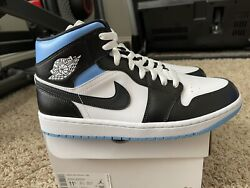 Nike Air Jordan 1 Mid University Blue Black Toe Sz 10M 11.5W BQ6472 102 In Hand $159.00