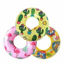 "Inflatable Pool Tubes 22"" Flamingo Swimming Ring for Kids Cactus Swim 3 Pack $19.96"