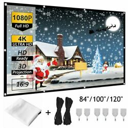 84quot; 100quot; 120quot; Portable Foldable Wall Projector Screen 16:9 Home Theater Outdoor $14.24