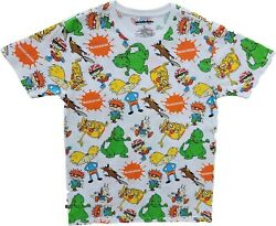 New Nickelodeon All Shows 80s 90s Cartoon Characters Vintage White T Shirt Tee $17.99