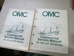 1984 OMC Outboards Commercial Service Manuals 2 Books 25 155 Models