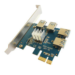 PCI E to PCI E Adapter 1 Turn 4 PCI 1x to 16x USB 3.0 Expansion $26.20