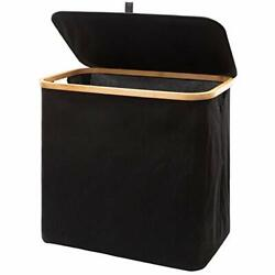 CYBMBO 90L Laundry Hamper With Lid Bamboo Black Collapsible Laundry Baskets F... $38.27