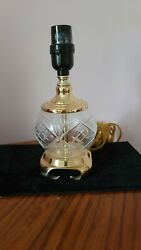 VinTG Waterford lENOX STYLE Crystal ETCHED Lamp SOLID Brass Base VASE CAP $19.00
