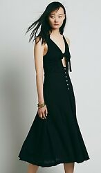 NEW FREE PEOPLE Woo Wee Dress Black Maxi Midi Cut Out SOLD OUT Size 6 Small $39.99