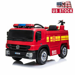 Fire Truck 12V Kids Ride on Car 3 Speed Battery Powered Water Tank w RC KidsGift $135.99