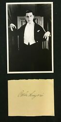 BELA LUGOSI SIGNED PAPER WITH DRACULA PHOTO POST CARD RARE WITH CERT. $499.67