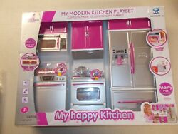 My Modern Kitchen Full Deluxe Kit Playset Refrigerator Stove Sink Microwave Pink $32.95