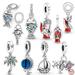 Blue Scaled Fish amp; Blue Globe 925 Sterling Silver Charm Without Pandora Pouch $11.22