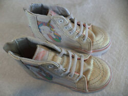 Vans Off The Wall Girls Pink Glitter Unicorn Hightop Toddlers Shoes Size 9 $17.00
