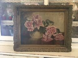 Gorgeous antique oil painting pink roses 1880 1920 wood frame $275.00