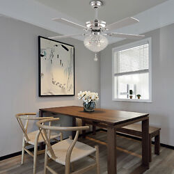 5Wood Blades Reversible Ceiling Fan With Light K9 Crystal Chandelier and Remote $157.93