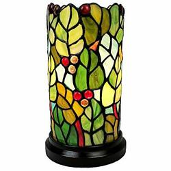 Amora Lighting Tiffany Style Accent Mini Lamp 10quot; Tall Stained Glass Green Ye... $88.55