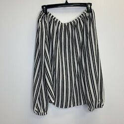 Forever 21 Plus Women's Black White Long Sleeve Off The Shoulder Blouse Size 0X $10.99