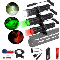 White Red Green Light LED Flashlight Gun Rifle Mount Torch with Pressure Switch $16.99