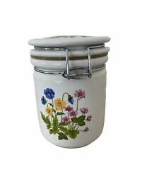 Ceramic Jar with Latching Lid Flowers Floral White Kitchen Decor Storage 5 3 4quot; $16.00