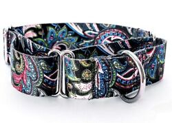 Large Paisley Martingale Dog Collar With Matching 6 Foot Leash $17.50