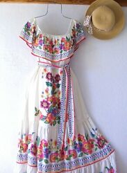 New Ivory Floral Rose Peasant Tiered Ruffle Summer Maxi Boho Dress Size Small S $68.95