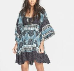Free People Heart Of Gold Patterned Dress Size Large Bell Sleeve Boho Blue $59.00
